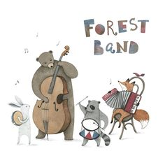 "2,340 Me gusta, 16 comentarios - Maria Alekseeva (@come.on.maria) en Instagram: ""Forest band . #иллюстрация #акварель #illustration #watercolor #watercolour #art #painting #drawing…"""