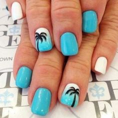 32 Summer Nails That All Feature Palm Trees! – Hashtag Nail Art 32 Summer Nails That All Feature Palm Trees! Beach Nail Designs, Cute Summer Nail Designs, Best Nail Art Designs, Nail Designs For Kids, Tropical Nail Designs, Pedicure Designs, Pretty Designs, Bright Summer Nails, Cute Summer Nails