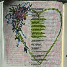 Song of Solomon Bible art journaling by @peggyart www.peggyart.com