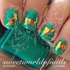 Gold Cat Nail Art Nail Water Decals Transfers Wraps