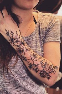 flower sleeve tattoo 13 beautiful flower tattoos for women; Tattoos For Women Flowers, Beautiful Flower Tattoos, Sleeve Tattoos For Women, Girl Sleeve Tattoos, Nature Tattoo Sleeve Women, Diy Tattoo, Tattoo Fonts, Tattoo Quotes, Trendy Tattoos