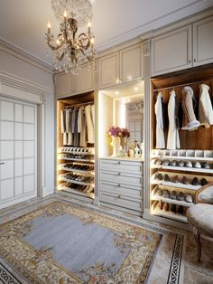 Luxurious Walk-in closet wardrobe room in large house in classic style. rende… – [pin_pinter_full_name] Luxurious Walk-in closet wardrobe room in large house in classic style. Walk In Closet Design, Bedroom Closet Design, Master Bedroom Closet, Closet Designs, Wardrobe Design, Master Bath, Dressing Room Closet, Dressing Room Design, Dressing Rooms