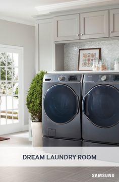 Wash a full load in only 36 minutes using Samsung's Front Load Washer and Dryer with SuperSpeed technology, so you can take laundry off your holiday chore list. above washer and dryer ideas Front Load Washer With Steam Wash Laundry Room Layouts, Laundry Room Cabinets, Small Laundry Rooms, Laundry Room Organization, Laundry Room Design, Washer And Dryer Pedestal, Laundry Room Pedestal, Samsung Washing Machine, Washing Machine And Dryer