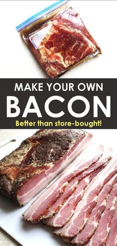 How to Make Bacon: Maple Cured Bacon, With or Without a Smoker! - Learn how to make bacon from scratch in a smoker, oven, or grill. Curing bacon at home is a great w - Curing Bacon, Pork Belly Recipes, Pork Belly Bacon Recipe, Rib Recipes, Oven Recipes, Recipies, How To Make Bacon, Best Bacon, Smoking Recipes