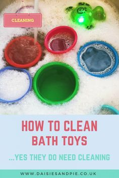 You wouldn't think you'd need to clean bath toys but you really do, that black gunky stuff can be full of bacteria - click through to get the full instructions on how to remove it so it's not in the bath water with the kids | homemaking from daisies and pie