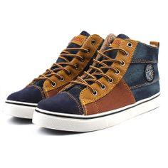 Baskets Sneakers Homme Toile jean fourrees Casual fashion Men Bleu