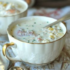 Corn, Crab and Shrimp Chowder Recipe on Food Wine. Andrew Zimmern adds depth to his rich seafood chowder by making an easy stock with corn cobs and shrimp shells. Plenty of cream and butter make this chowder irresistibly decadent. Chowder Recipes, Soup Recipes, Great Recipes, Favorite Recipes, Delicious Recipes, Recipies, Healthy Recipes, Seafood Dishes, Seafood Recipes