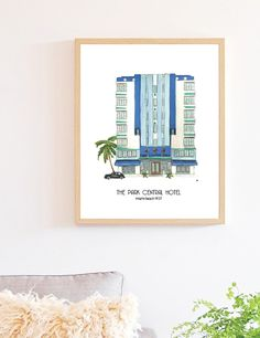 Add some South Beach style with the Park Central Hotel Print. Unique home decor from Emilka Danielczyk