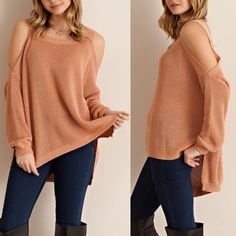 ARCADIA cold shoulder sweater top - BLUSH Cold shoulder pull over sweater featuring side slit. Unlined. Non-sheer. Knit. Lightweight. 55%ACRYLIC 45%COTTON Tops