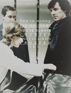 The look on Sherlock's face...