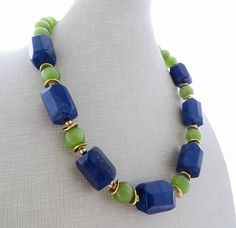 Lapis lazuli necklace blue chunky necklace green glass