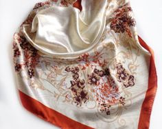 Orange Floral satin scarf, Coworker gift  Floral scarf, Birthday gift for Mother in law, Bulk Buying gift, White printed scarf, Brown Scarf by blingscarves. Explore more products on http://blingscarves.etsy.com