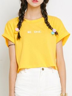 Yellow Lettetr Print Crop T-shirt