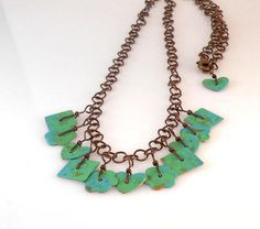 Green and Blue Painted Copper Dangle Necklace Cool Necklaces, Turquoise Necklace, Dangles, Copper, Hand Painted, Green, Earrings, Blue, Jewelry