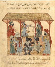 Scène de marché aux esclaves, Zabid , Yémén tiré du livre arabe des maqamat d'al-Hariri , xiiie siècle Ère Abbasside