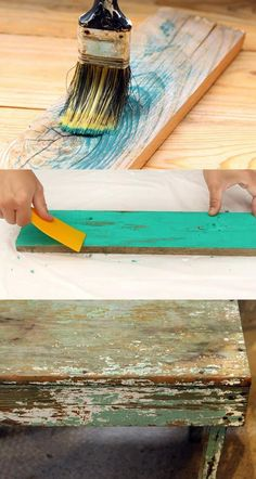 How to Distress Wood & Furniture EASY Techniques & Videos!} How to Distress Wood & Furniture EASY Techniques & Videos!}If you love the aged rustic look of weathered wood, you are likely to have won Diy Outdoor Furniture, Recycled Furniture, Colorful Furniture, Diy Furniture, Simple Furniture, Furniture Making, Bedroom Furniture, Distressed Wood Furniture, Rustic Furniture