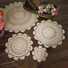 15-45cm Retro Pastoral Flower Placemat Table Mat Handmade Cotton Round Doily http://s.click.aliexpress.com/e/VZBYFUJEE  Insulation Cup Pads Doilies Crochet Lace Coaster