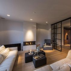 """""""#Sofas, #Fireplace, #Glass Wall, #Living Room, Apartment in Amsterdam"""""""