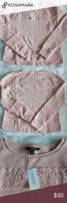 NWT Banana Republic Pink Lace Sweatshirt Size S Super cute baby pink sweatshirt by Banana Republic Lovely lace/crochet detail  New with tags! Measurements: armpit to armpit- 19 inches, top to bottom- 23 inches, sleeves- 27.5 inches. Banana Republic Tops Sweatshirts & Hoodies