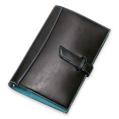 メモリアルコードバンシステム手帳 バイブル20mm ブラック×ブルー 34650yen 選び抜かれた素材と職人の技が生み出すシステム手帳
