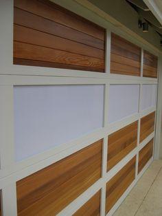 Aluminium frame with Cedar timber inserts and translucent Makrolon inserts. Garage Door Track, Custom Garage Doors, Garage Door Design, Custom Garages, Garage Floor Finishes, Sectional Garage Doors, Laser Cut Panels, Door Picture