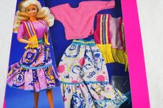 Vintage NRFB 1989 Barbie Western Fun Fashions shoes skirt Outfit 1980's # 9951