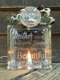 Mother's Day Gift Etched Glass Block by BrushyRidgeCrafts on Etsy