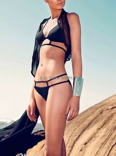 Very Sexy Swimwear Black Fashion Halter Triangle Top String Bottom Online Sale $13.99