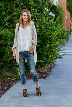 Weekend Style - Boyfriend Jeans, Tank, Cardigan, Leopard booties