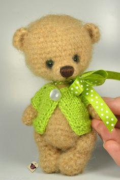 Miniature gift handmade artist crochet bear beige teddy in green blouse OOAK