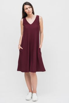 BURGUNDY SLEEVELESS DRESS from Ozon Boutique