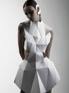 awesome Geometric Fashion - white dress with faceted 3D structure using connecting triangle shapes - experimental fashion design; wearable art // Biophelia Fashion designers Check more at http://pinfashion.top/pin/65265/
