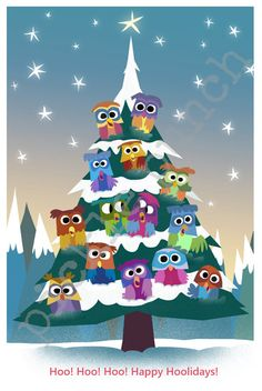 Owl Holiday Card by PicklePunch on Etsy