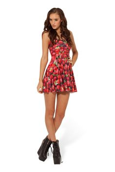Strawberry Reversible Skater Dress (48HR) by Black Milk Clothing $85AUD