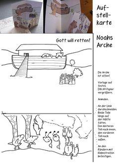 Noahs Arche Sintflut Aufstellkarte basteln zur Geschichte