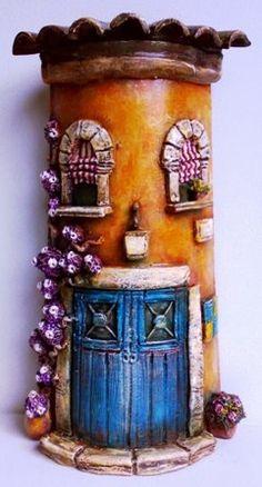 დეკორატიული სახლები – My hobby Clay Fairy House, Fairy Garden Houses, Clay Houses, Ceramic Houses, Polymer Clay Projects, Polymer Clay Art, Crafts To Do, Diy Crafts, Diy Y Manualidades