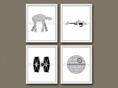 8x10 (4) STAR WARS Vehicles Prints - Nursery Art, Children's Art, Star Wars Art - Star Wars Vehicles by CrabbyNicks on Etsy https://www.etsy.com/listing/198726550/8x10-4-star-wars-vehicles-prints-nursery