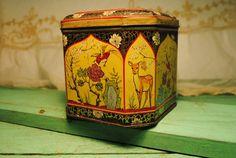 deer and bird antique tin tea caddy