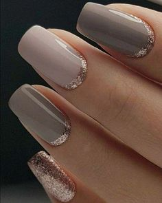 Classy but Unique Wedding Manicure Rose Gold Gel Nail Art Design for the Bride … - Nail Art Designs Trendy Nails, Cute Nails, My Nails, Classy Nails, Fancy Nails, Polish Nails, Pretty Gel Nails, S And S Nails, Nail Polish Trends