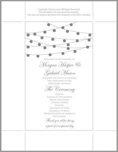 Printable Wedding Program TemplateString by ClearyLaneWeddings