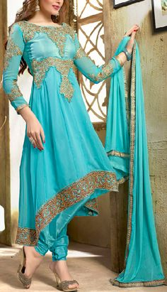 Sky Blue with Gold Embroidery Anarkali Suit