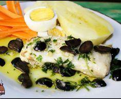 Tranches de pescada com azeite aromatizado de salsa e azeitonas pretas  ♥♥♥