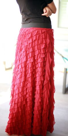 Gearing up for cooler weather and fall colors has me thinking of cute  outfits and fun sewing projects. Our store recently received a shipment of  Ruffle fabrics and it has inspired me to make a boutique-style skirt from  this unique fabric. Ruffle fabric is available in many colors and styles,  but I happen to be more partial to the color red and really liked the  pattern. The fabric itself is durable and slightly heavier than most skirt  fabric. This helps with draping, as the weight keeps…