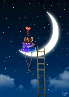 Love moon night couple