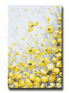 """GICLEE PRINT #Art Yellow Grey Abstract #Painting Poppy Flowers Coastal Art Canvas Prints, """"Blossoms of Sunshine"""" Art Giclee PRINT or Canvas Print of Original Yellow Grey Abstract Painting Poppies Flowers white gold grey yellow wall art decor -palette knife artwork, landscape floral, from SOLD Original Mixed media acrylic on gallery wrapped canvas. By Contemporary, California, Artist, Christine Krainock"""