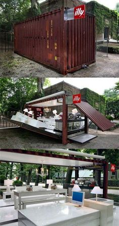 coffee bar in shipping container... Probably the cheapest way to setup a semi-permanent cafe...