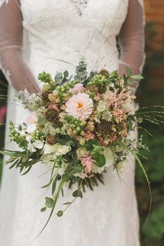 Bride Bridal Bouquet Pink Flowers Greenery Whimsical Romantic Barn Wedding http://kirstymackenziephotography.co.uk/