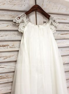 A-Line/Princess Tea-length Flower Girl Dress - Chiffon Short Sleeves Scoop Neck With Lace (010091218)