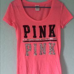 VS Pink Shirt Worn Twice Pink Shirt with sparkles! PINK Victoria's Secret Tops Tees - Short Sleeve