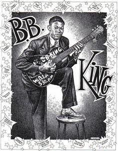 """Robert Crumb- B.B. King """"Why I Sing Blues"""" """"Quando comecei com o blues Trouxeram-me num navio Os homens estavam de pé em cima de mim E ainda mais com um chicote E todo mundo quer saber Porque eu canto blues Bem, eu estou envolvido à muito tempo Hum, eu realmente paguei minhas dívidas"""" ../..."""